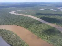 View of the Amazon River from the plane