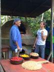 Slocum and Dom roasting the veggies.