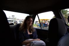 Delara in the cab after landing in Iquitos