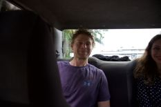 Mike in the back of the cab after landing in Iquitos